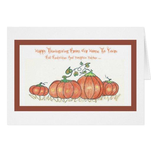 Acción de gracias feliz de nuestro hogar el suyo tarjeta de felicitación