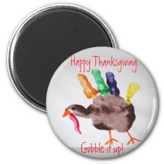 Acción de gracias feliz de Turquía.  ¡Engúllala pa Imán Redondo 5 Cm