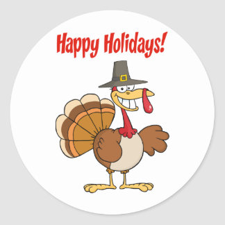 Acción de gracias feliz divertida Turquía Pegatinas Redondas