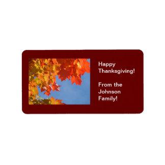 ¡Acción de gracias feliz! etiquetas del regalo de  Etiqueta De Dirección
