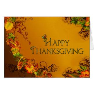 Acción de gracias feliz - hojas de la caída - cris tarjeta de felicitación