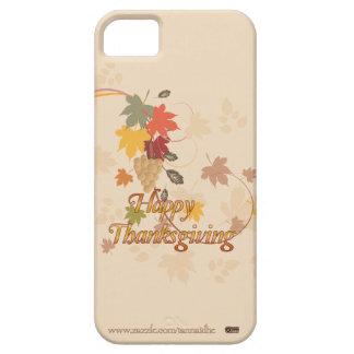 Acción de gracias feliz - hojas, uvas y cintas iPhone 5 funda