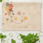 Acción de gracias feliz - hojas, uvas y cintas toallas de cocina