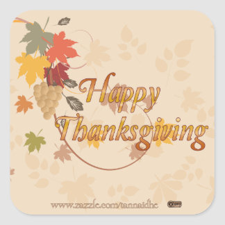 Acción de gracias feliz - hojas, uvas y cintas calcomania cuadrada personalizada
