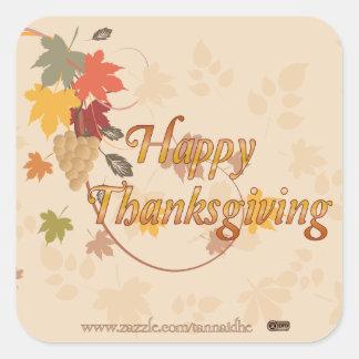 Acción de gracias feliz - hojas, uvas y cintas pegatina cuadrada