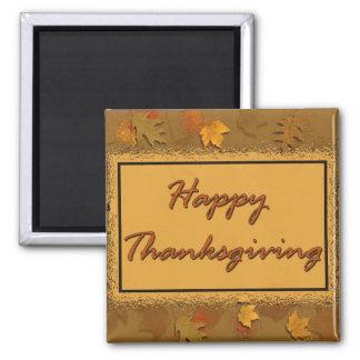 Acción de gracias feliz imán cuadrado