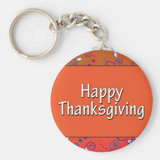 Acción de gracias feliz llaveros personalizados