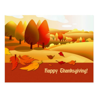 Acción de gracias feliz. Paisaje del otoño Tarjetas Postales