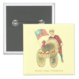 Acción de gracias feliz patriótica pin cuadrada 5 cm