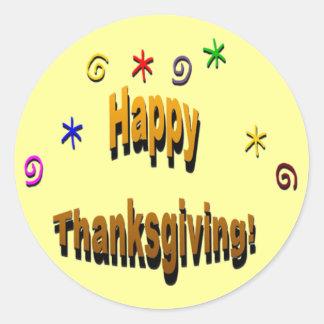 Acción de gracias feliz pegatina redonda