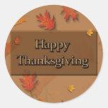 Acción de gracias feliz pegatinas redondas