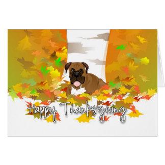 Acción de gracias feliz - perro del boxeador tarjeta de felicitación