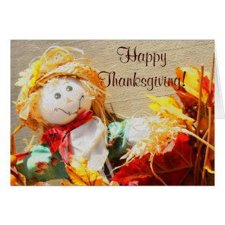 Acción de gracias feliz poca tarjeta de