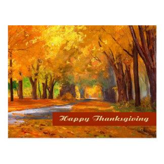 Acción de gracias feliz. Postal de la bella arte