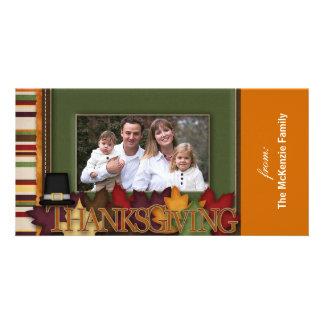 Acción de gracias feliz tarjeta fotográfica