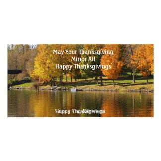 Acción de gracias feliz tarjeta personal con foto
