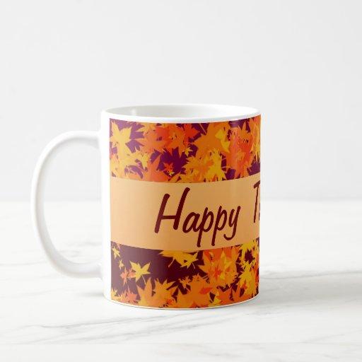 Acción de gracias feliz tazas