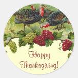 Acción de gracias feliz Turquía del vintage Pegatina Redonda