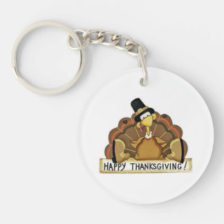 Acción de gracias feliz Turquía Llavero Redondo Acrílico A Una Cara