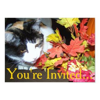 """Acción de gracias Intitation del gato de calicó Invitación 5"""" X 7"""""""