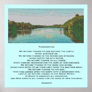 Acción de gracias Iroquois Poster