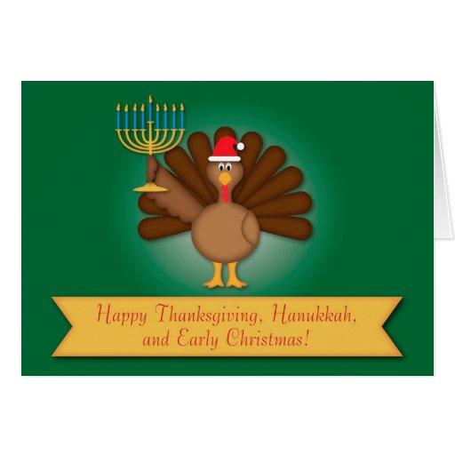 Acción de gracias, Jánuca, tarjeta de Navidad