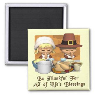Acción de gracias: Las bendiciones de la vida Imán Cuadrado