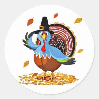 Acción de gracias linda divertida Turquía en un Pegatina Redonda