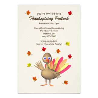 """Acción de gracias linda Potluck de Turquía Invitación 3.5"""" X 5"""""""