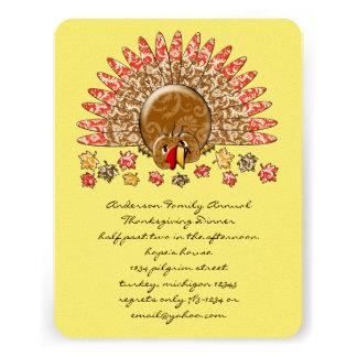 Acción de gracias linda Turquía del dibujo animado Invitación Personalizada
