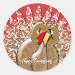 Acción de gracias linda Turquía del dibujo animado Etiqueta Redonda