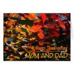 Acción de gracias-Mamá y papá/hojas felices de la  Tarjetas