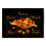 Acción de gracias multilingüe tarjeta de felicitación