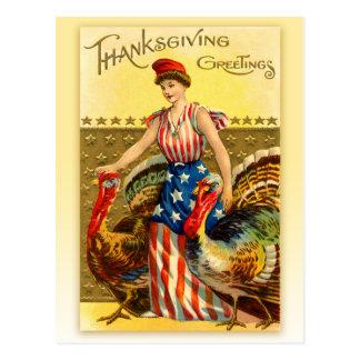 Acción de gracias patriótica del vintage - señora postales