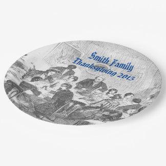 Acción de gracias personalizada del vintage de plato de papel de 9 pulgadas