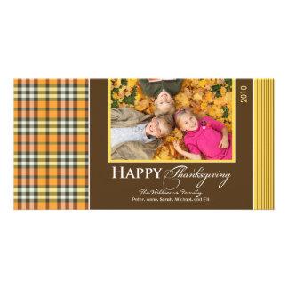 Acción de gracias Photocard (oro) de la tela escoc Tarjeta Fotográfica