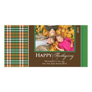 Acción de gracias Photocard (verde) de la tela esc Tarjetas Personales Con Fotos