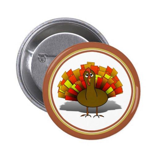 Acción de gracias preocupante Turquía del dibujo a Pin Redondo 5 Cm