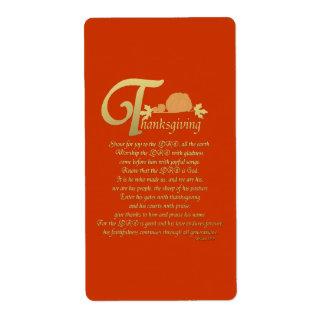 Acción de gracias - salmo 100 etiquetas de envío