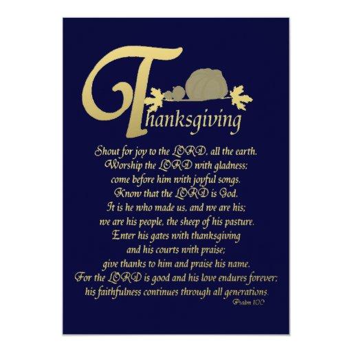 Acción de gracias - salmo 100 invitación 12,7 x 17,8 cm