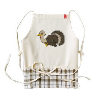 Acción de gracias tradicional Turquía en marrón Delantal Zazzle HEART