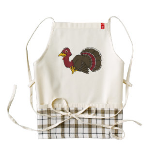 Acción de gracias tradicional Turquía en rojo Delantal Zazzle HEART
