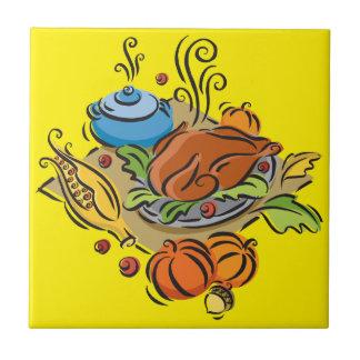 Acción de gracias Turquía Azulejo Cuadrado Pequeño