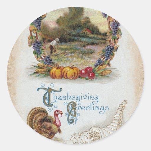 Acción de gracias Turquía de la postal del vintage Pegatina Redonda