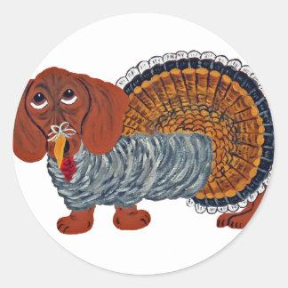 Acción de gracias Turquía del Dachshund Etiqueta