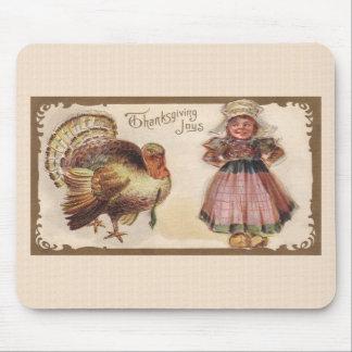 Acción de gracias Turquía del vintage con el chica Alfombrillas De Ratones