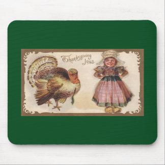 Acción de gracias Turquía del vintage con el chica Mousepad