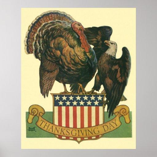 Acción de gracias Turquía, Eagle, bandera del Póster
