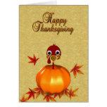 Acción de gracias Turquía en la calabaza - tarjeta