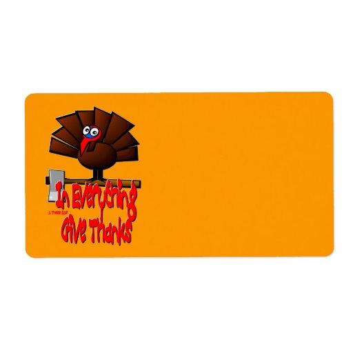 Acción de gracias Turquía - en TODO dé las gracias Etiquetas De Envío